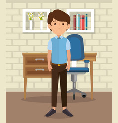 Man in home office place house vector