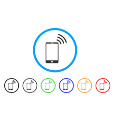 mobile wi-fi signal rounded icon vector image
