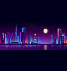 modern megapolis on river at night vector image
