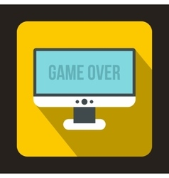 Monitor with word game over icon flat style vector image