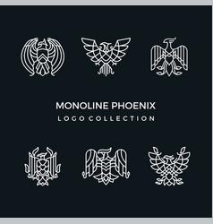 Mono line phoenix logo collection vector