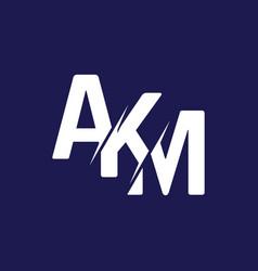 Monogram letters initial logo design akm vector