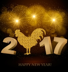 New Year 2017 golden background vector image