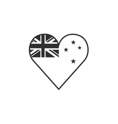 new zealand flag icon in a heart shape in black vector image