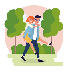 Nice man carrying on his back a pretty woman vector