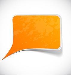 Orange grunge speech label design vector