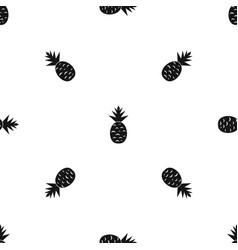 pineapple pattern seamless black vector image