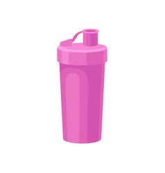 Pink plastic reusable water bottle drink bottle vector