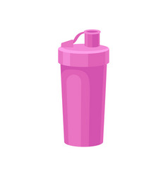 pink plastic reusable water bottle drink bottle vector image