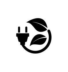plug leaf energy save flat icon vector image