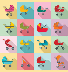 pram stroller carriage icons set flat style vector image