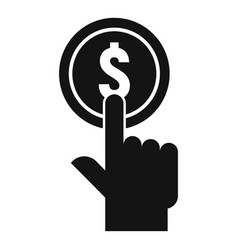 Push coin cash back icon simple style vector