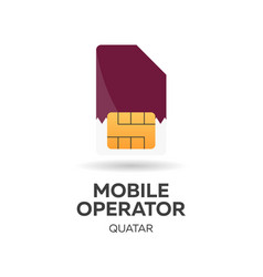 Quatar mobile operator sim card with flag vector