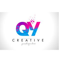 qy q y letter logo with shattered broken blue vector image
