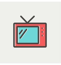 Retro television thin line icon vector image