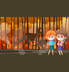 Scene with girls and animals in big wildfire vector