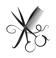 Scissors comb and hair silhouette vector