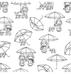 seamless background of kids with pets in the rain vector image