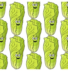Seamless pattern of fresh Chinese lettuce vector
