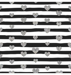 seamless pattern silver hearts vector image