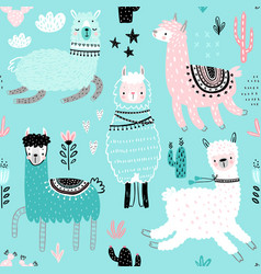 seamless pattern with cute llamas vector image