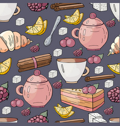seamless pattern with hand drawn elements for a te vector image