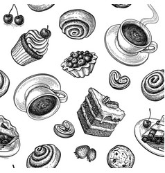 seamless pattern with sweets and pastries vector image