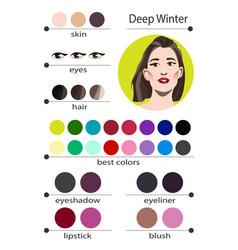 Seasonal color analysis palette for deep winter vector
