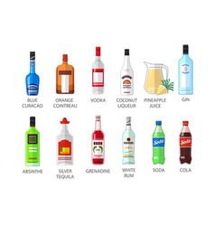 set of flat style elite alcohot bottle icons vector image
