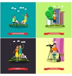 Set of photo and video concept posters vector
