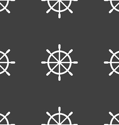 Ship steering wheel icon sign Seamless pattern on vector