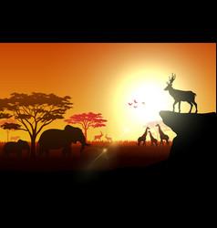 Silhouette animals on savannas in afternoon vector