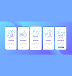 Sleep problems blue gradient onboarding mobile vector