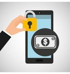 Smartphone bill money security vector