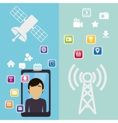 Smartphone man antenna virtual communication vector