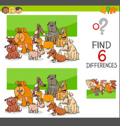 spot the differences with dogs or puppies vector image