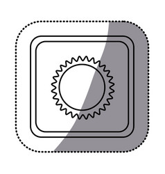 sticker monochrome square frame with sun close up vector image