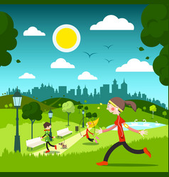sunny day in city park with people vector image