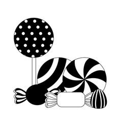 sweet candies lollipops caramels gummy vector image
