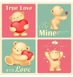 Teddy Bear in Retro Love Background vector image