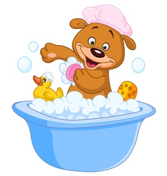 Teddy bear taking a bath vector