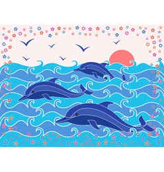 Three Dolphins in the sea waves vector image