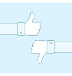 Thumbs up and thumbs down line icons vector image