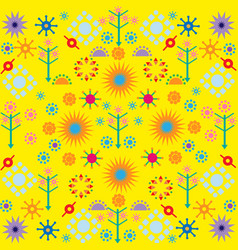 trees flowers patterns colored symbols ornament on vector image