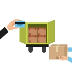 truck and package icon Delivery and Shipping vector image