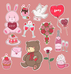 valentine s day stickers in pink colors vector image