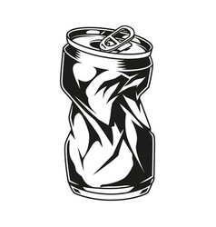 Vintage crumpled beer can concept vector