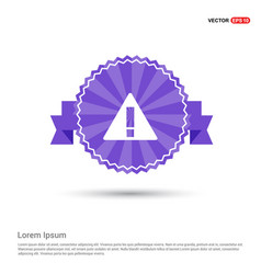Warning icon - purple ribbon banner vector