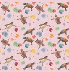 Watercolor rainbow small baturtles vector