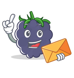 With envelope blackberry character cartoon style vector